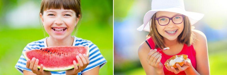 Дети с брекетами едят